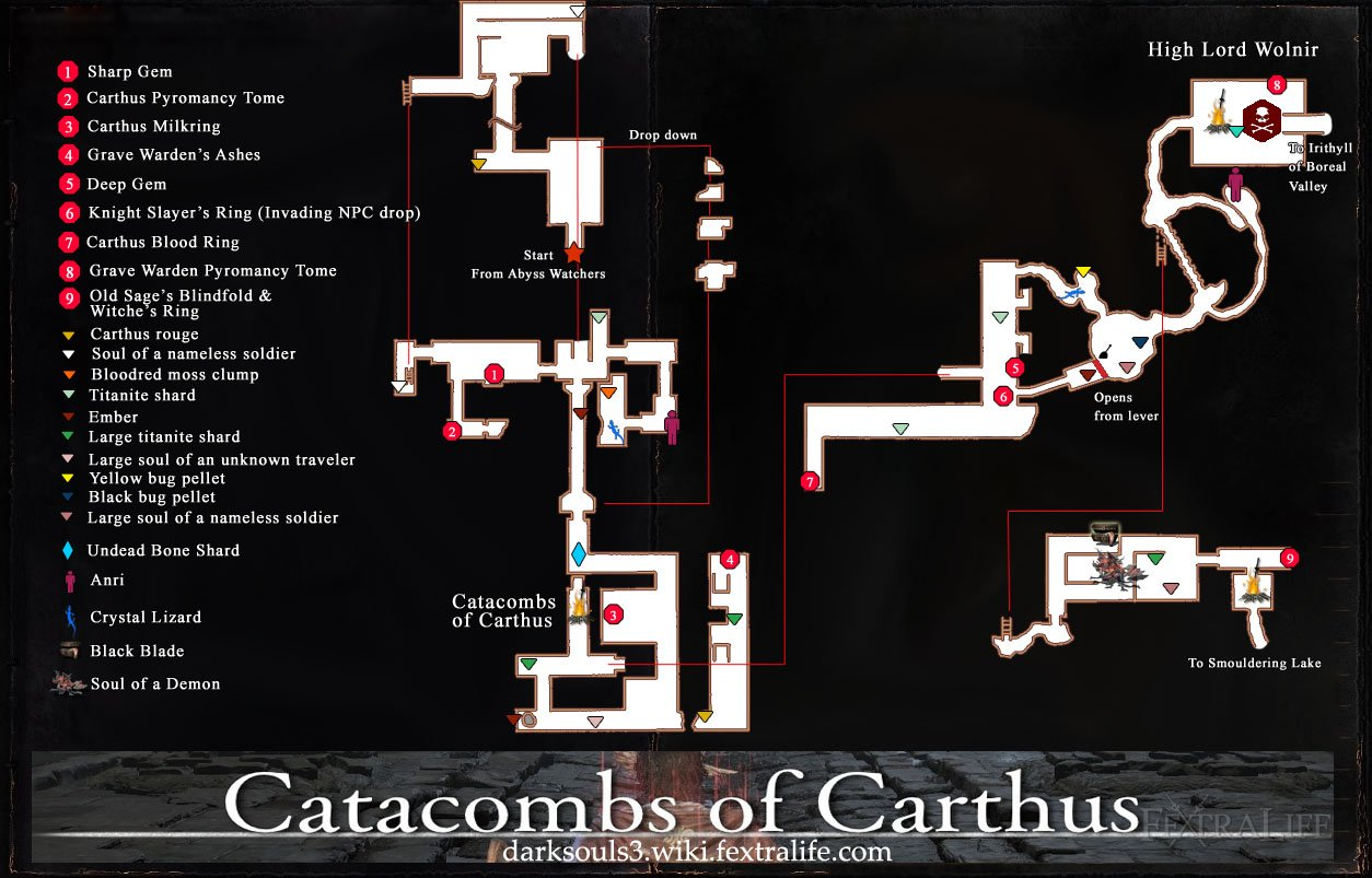 Catacombs of Carthus Map dks3