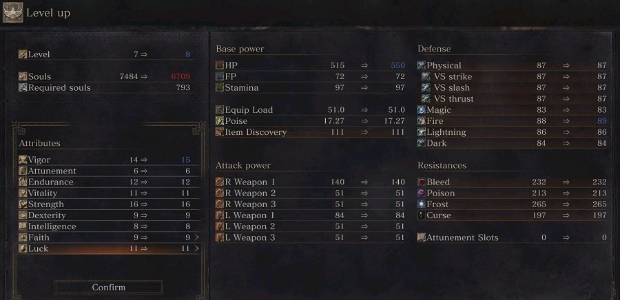 Dark Souls 3 Stats Screen